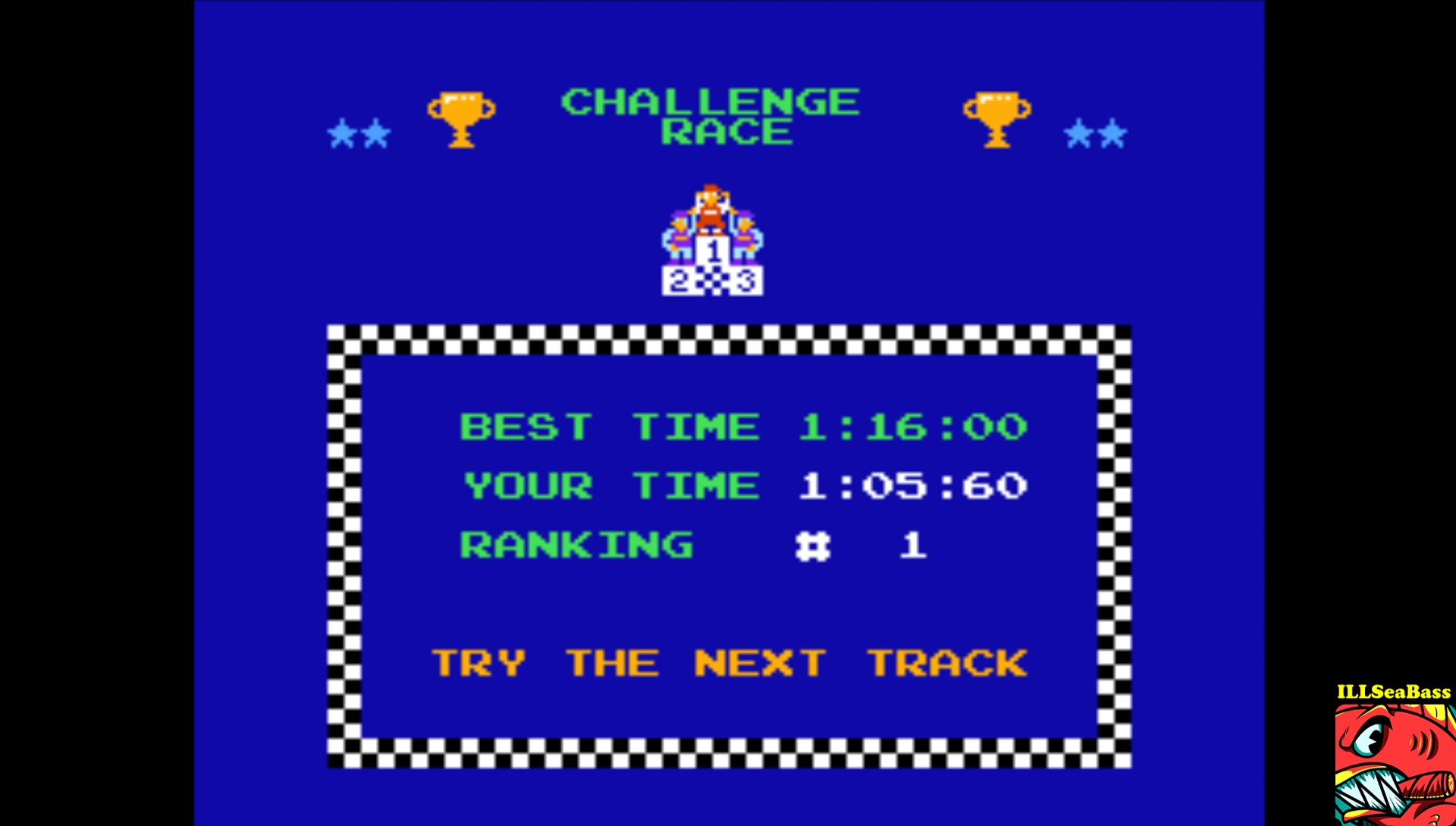 Excitebike: Track 3 time of 0:01:05.6