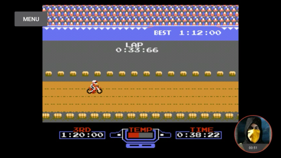 omargeddon: Excitebike: Track 4 [Fastest Lap] (NES/Famicom Emulated) 0:00:33.66 points on 2018-02-14 16:12:59