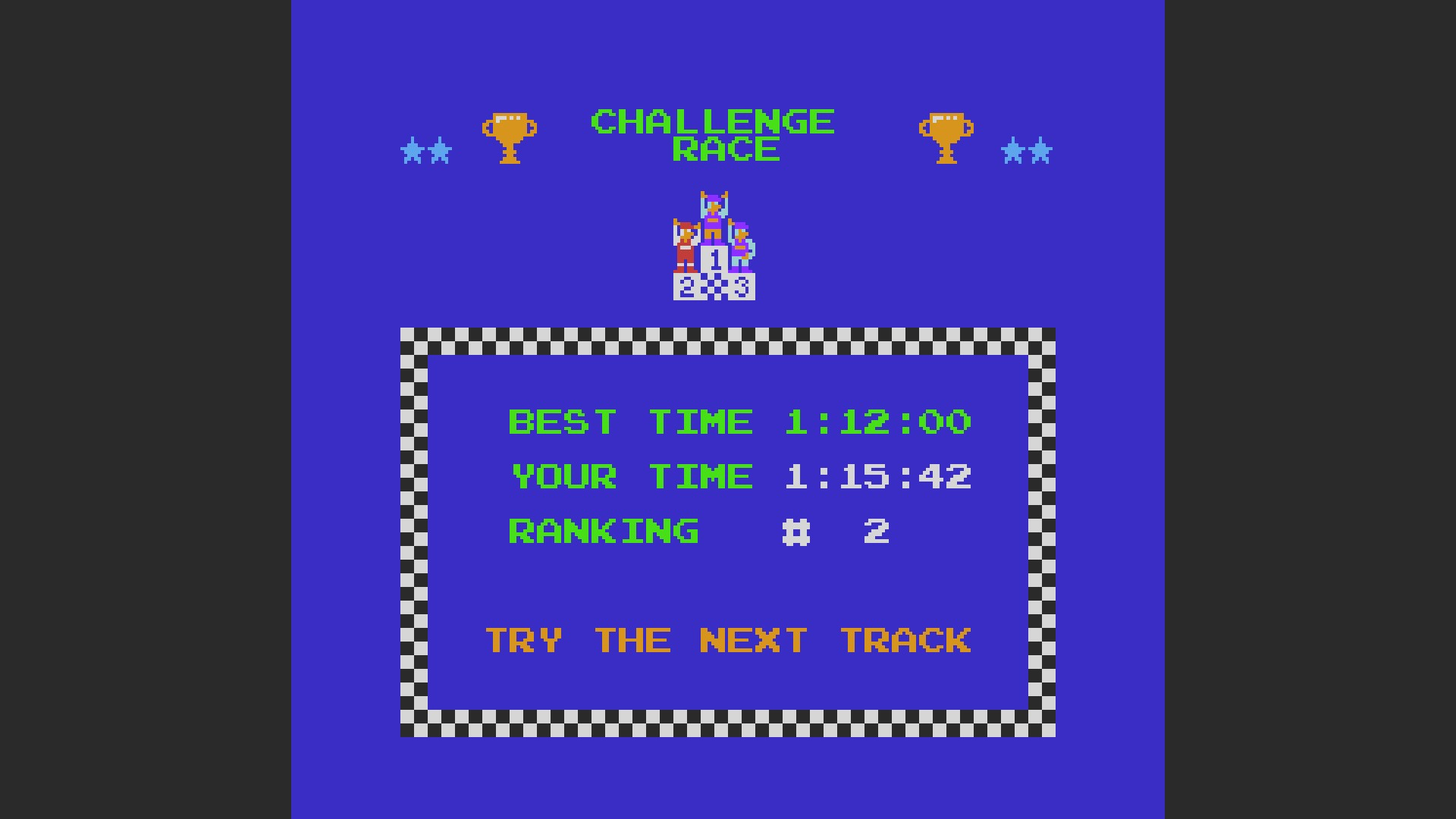 Excitebike: Track 4 time of 0:01:15.42