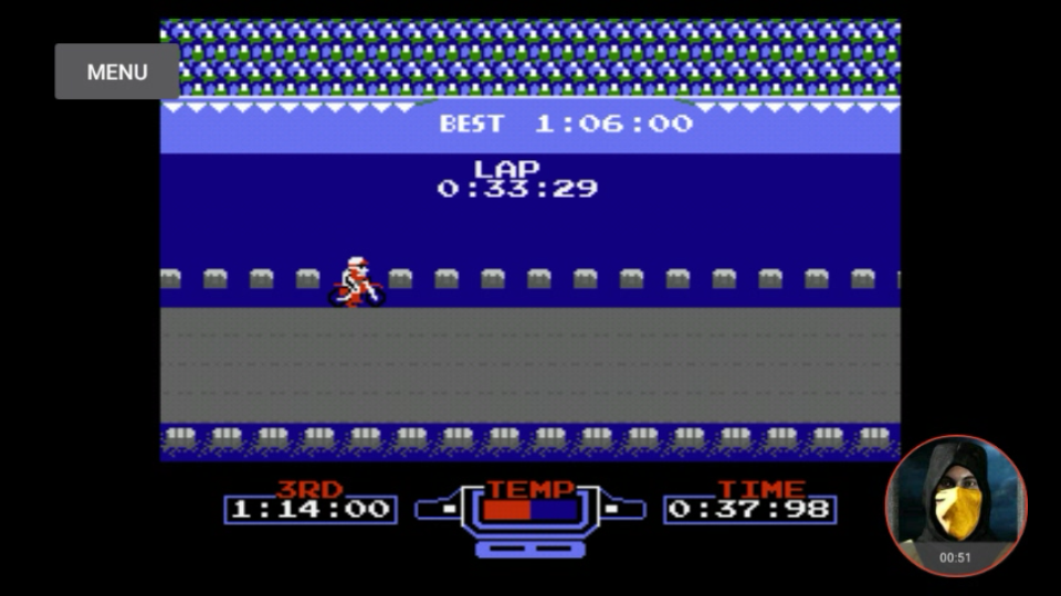 omargeddon: Excitebike: Track 5 [Fastest Lap] (NES/Famicom Emulated) 0:00:33.29 points on 2018-02-14 16:13:33