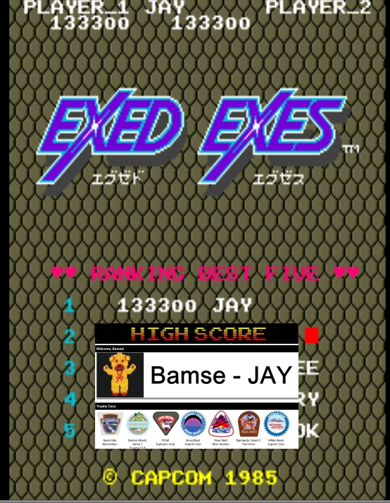 Bamse: Exed Exes (Arcade Emulated / M.A.M.E.) 133,300 points on 2020-01-22 18:10:04