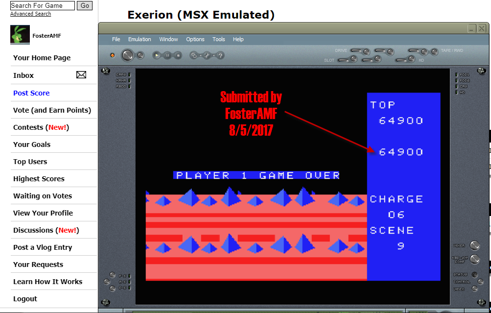 FosterAMF: Exerion (MSX Emulated) 64,900 points on 2017-08-05 19:36:23