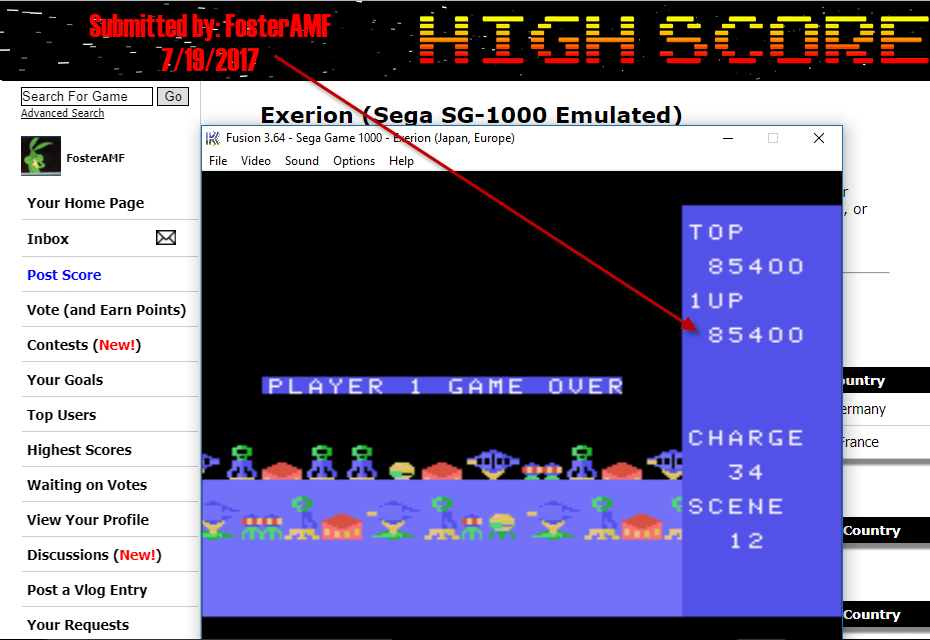 FosterAMF: Exerion (Sega SG-1000 Emulated) 85,400 points on 2017-07-19 16:04:00