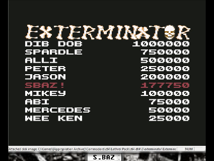 S.BAZ: Exterminator [1990 Audiogenic] [Continues Allowed] (Commodore 64 Emulated) 177,750 points on 2016-06-18 10:54:16