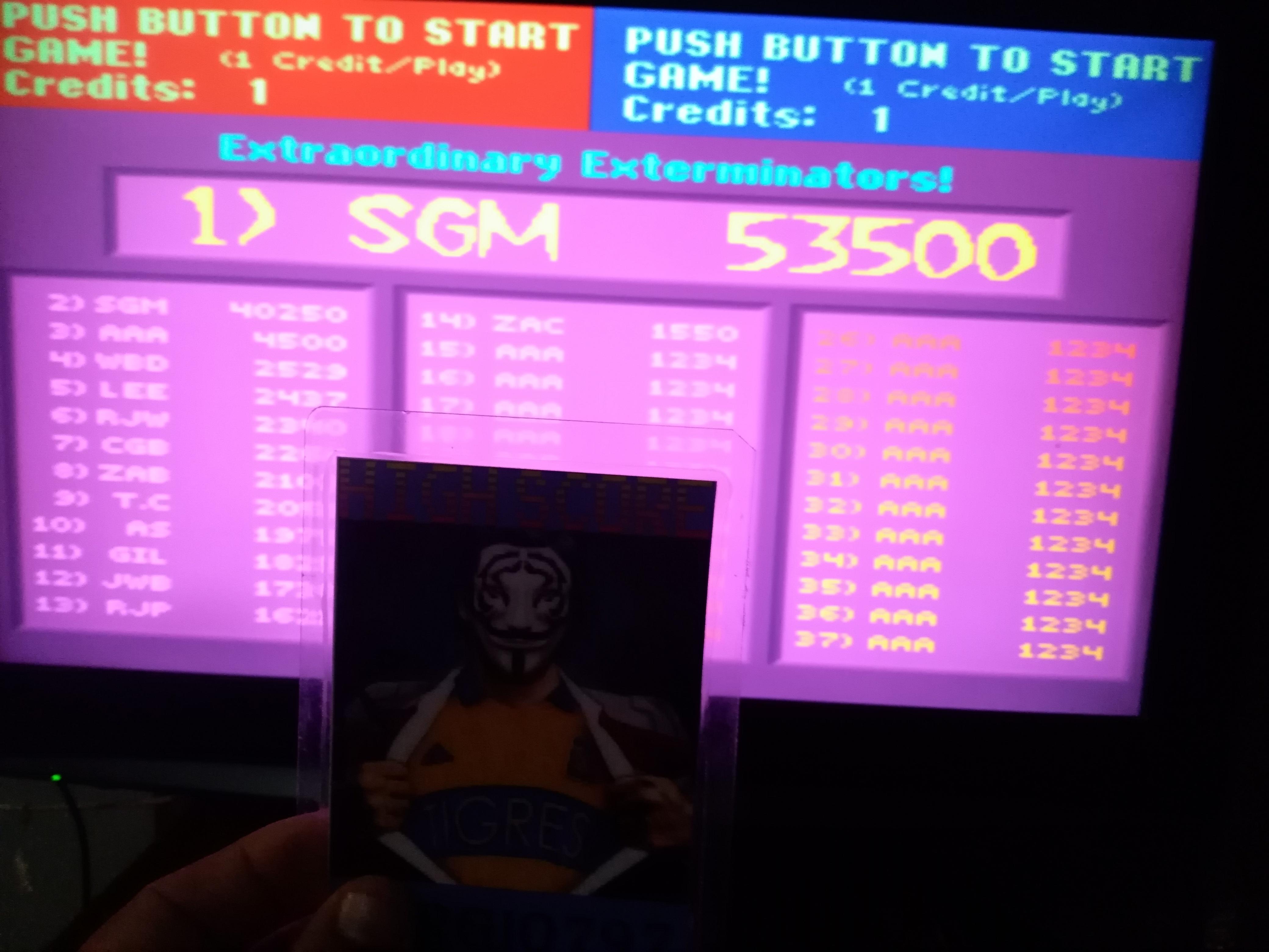 Sdrgio797: Exterminator [exterm] (Arcade Emulated / M.A.M.E.) 53,500 points on 2021-07-08 09:51:25