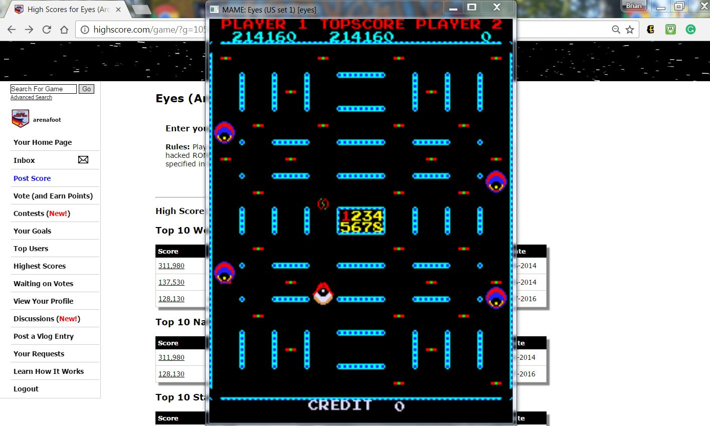 arenafoot: Eyes (Arcade Emulated / M.A.M.E.) 214,160 points on 2017-03-30 17:18:22