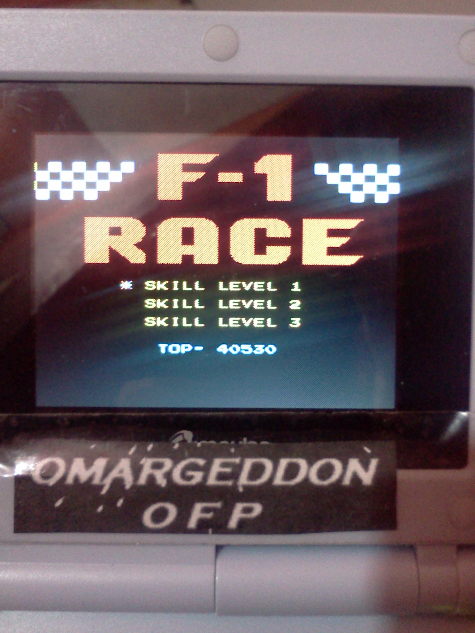 omargeddon: F-1 Race: Skill 1 (NES/Famicom Emulated) 40,530 points on 2016-07-28 00:00:59