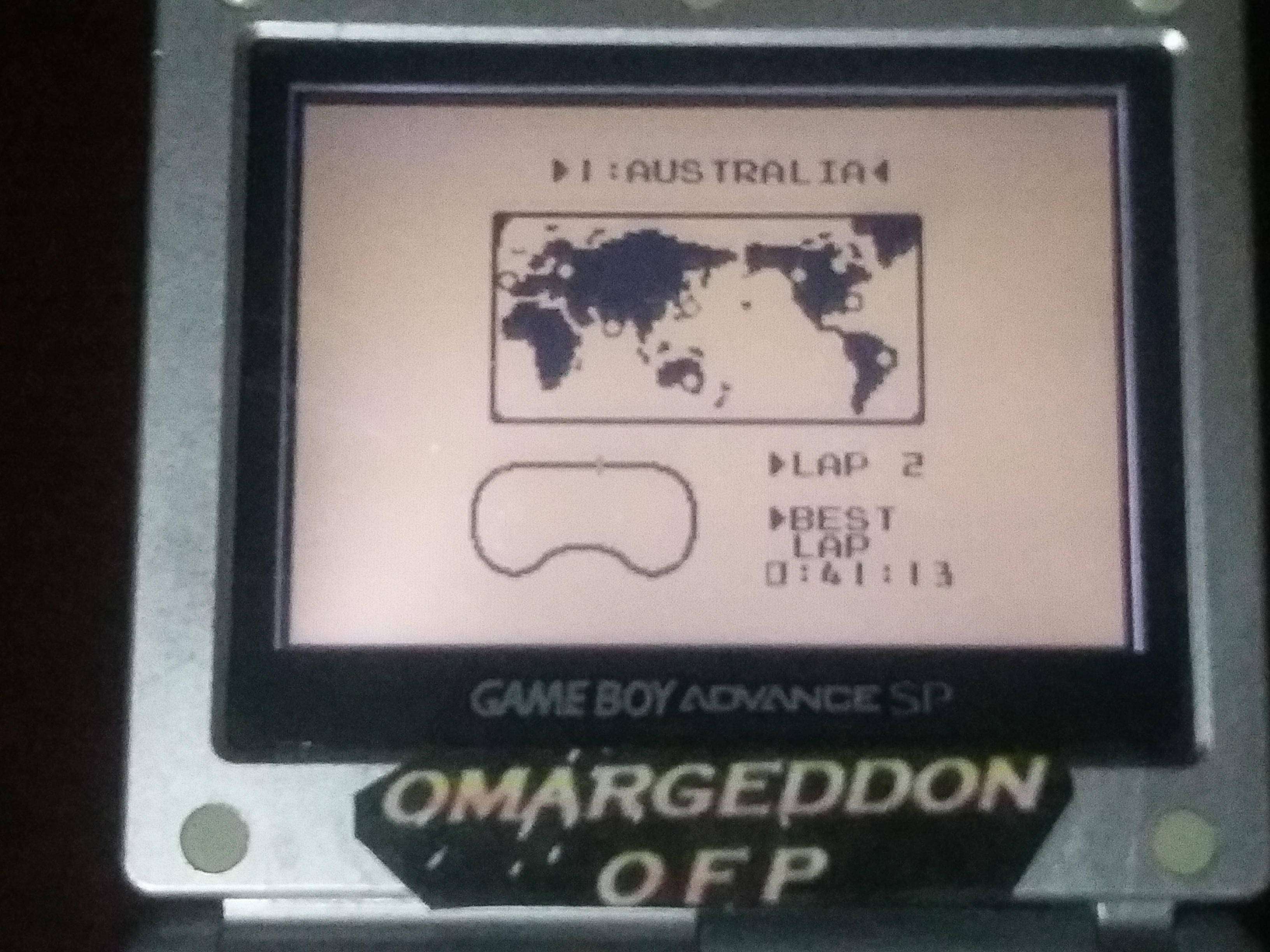 omargeddon: F-1 Race: Time Trials: Single: Australia [Best Lap] (Game Boy) 0:00:41.13 points on 2018-01-03 23:53:57