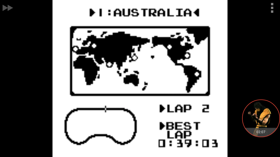 omargeddon: F-1 Race: Time Trials: Single: Australia [Best Lap] (Game Boy Emulated) 0:00:39.03 points on 2018-01-04 01:53:33