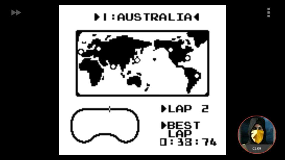 omargeddon: F-1 Race: Time Trials: Single: Australia [Best Lap] (Game Boy Emulated) 0:00:38.74 points on 2018-03-19 00:24:25