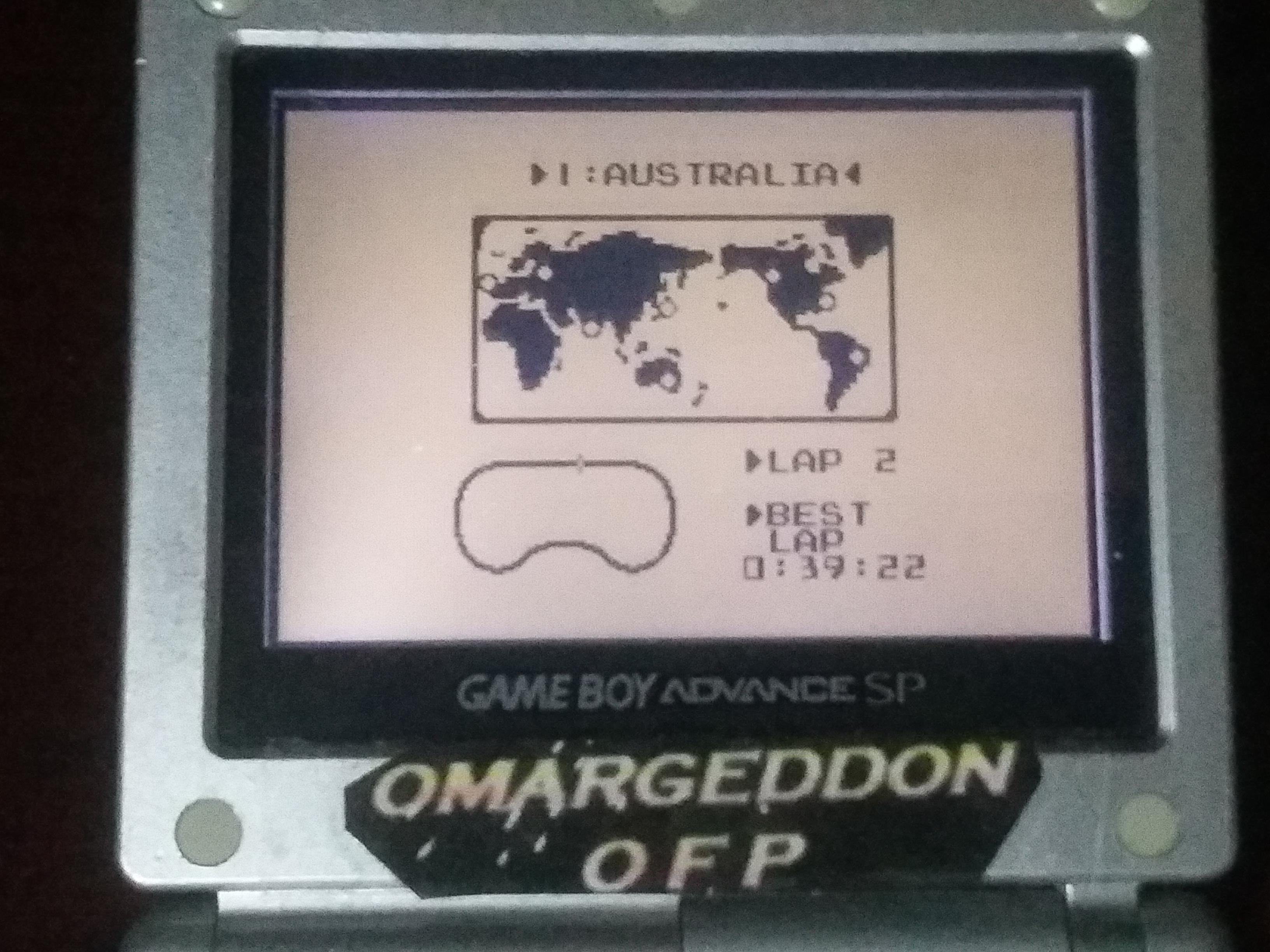 omargeddon: F-1 Race: Time Trials: Single: Australia [Best Lap] (Game Boy) 0:00:39.22 points on 2018-03-19 01:17:36