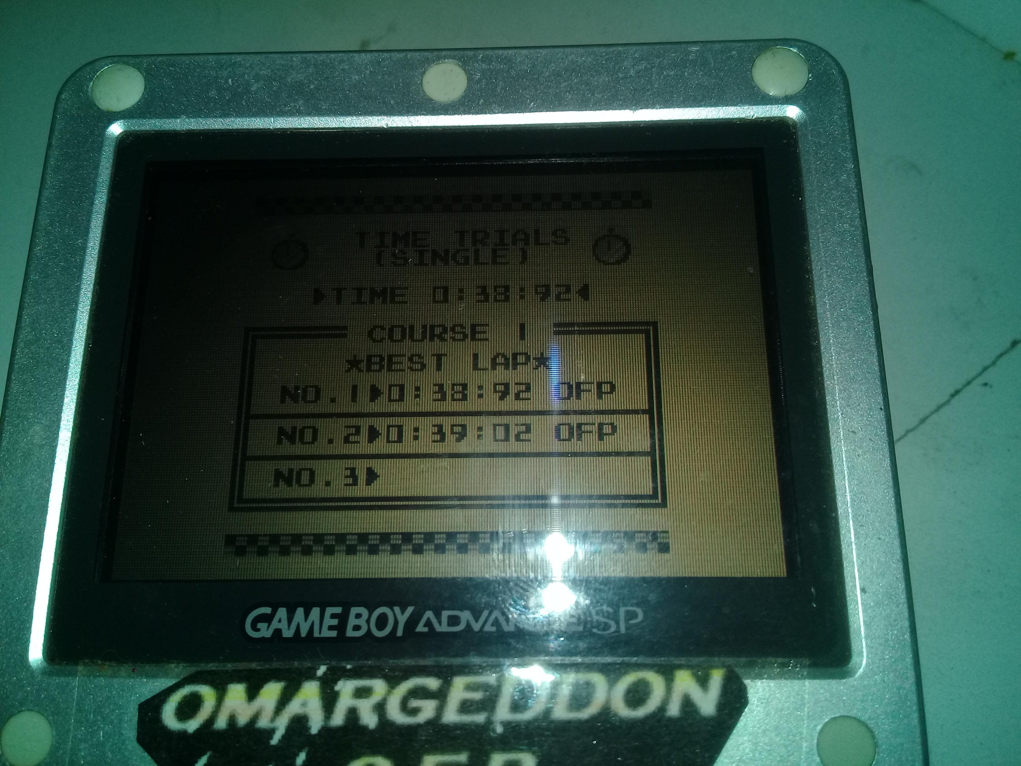 omargeddon: F-1 Race: Time Trials: Single: Australia [Best Lap] (Game Boy) 0:00:38.92 points on 2019-04-19 20:13:08
