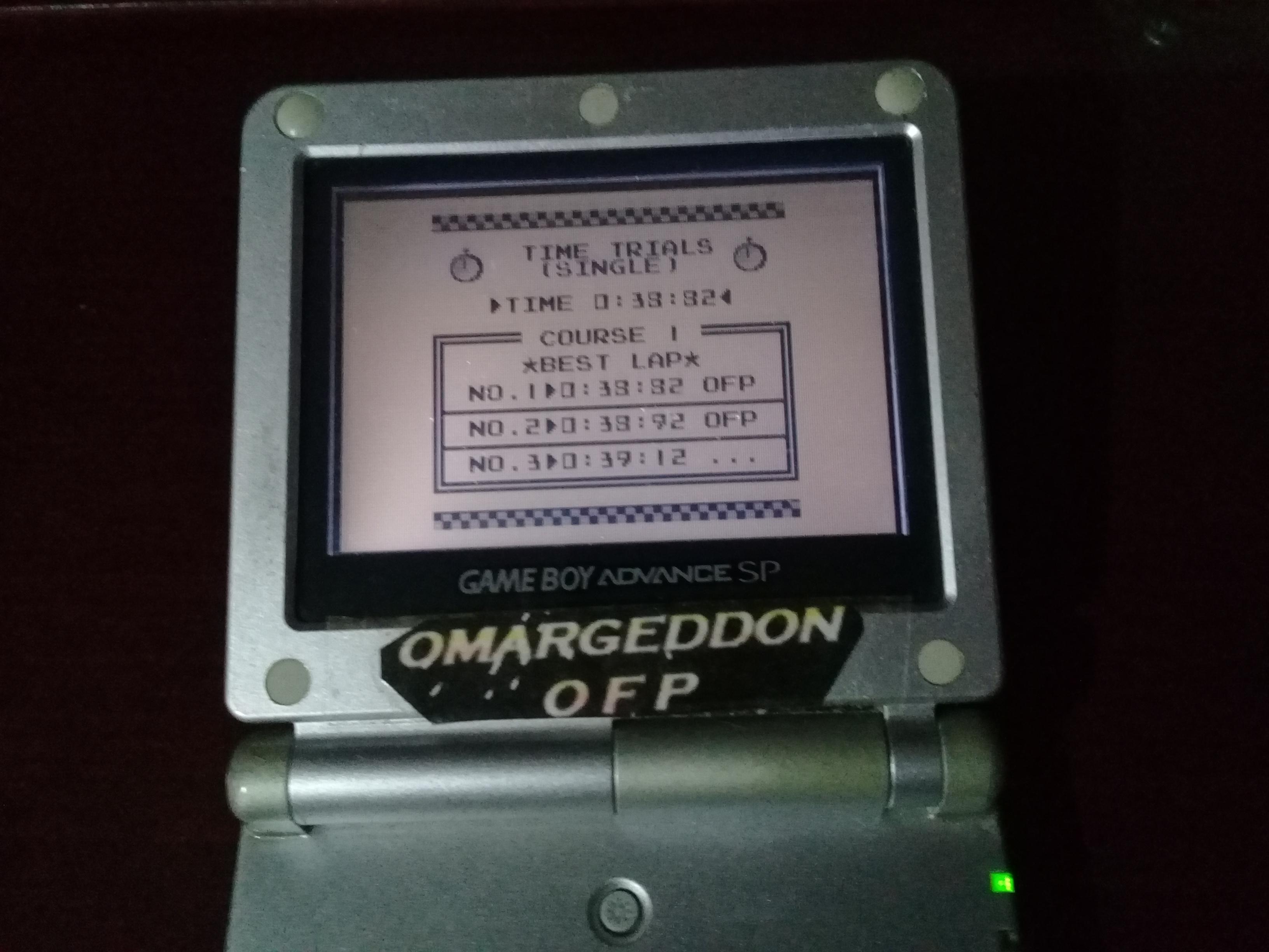 omargeddon: F-1 Race: Time Trials: Single: Australia [Best Lap] (Game Boy) 0:00:38.82 points on 2019-07-02 09:10:37