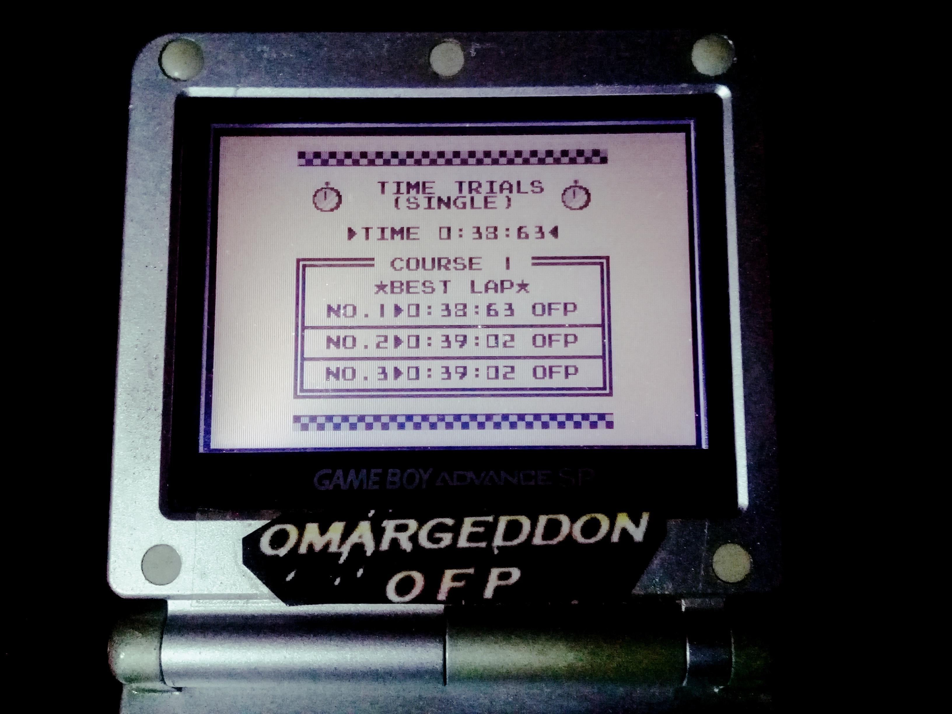 omargeddon: F-1 Race: Time Trials: Single: Australia [Best Lap] (Game Boy) 0:00:38.63 points on 2019-11-17 10:56:19