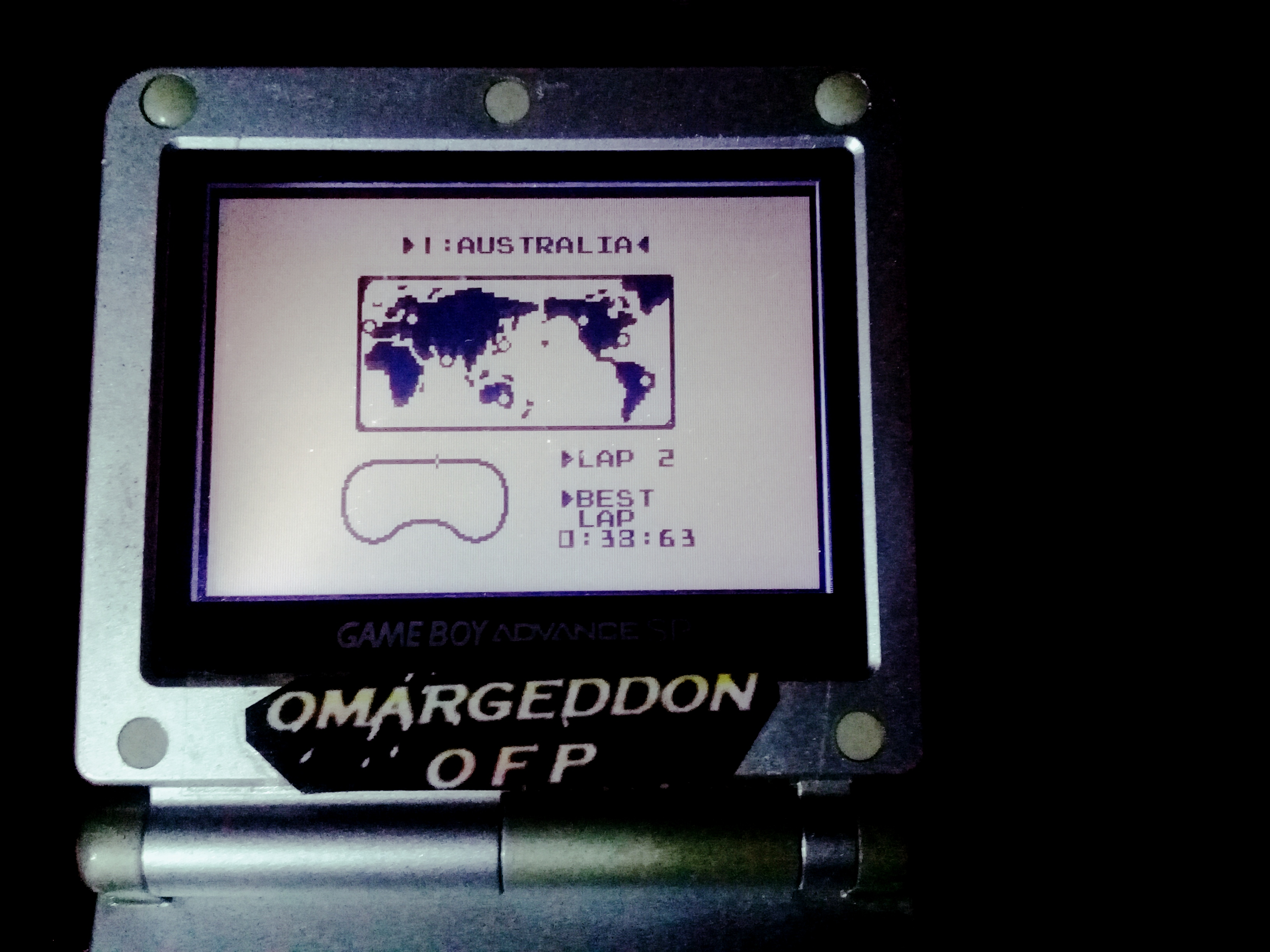 omargeddon: F-1 Race: Time Trials: Single: Australia [Best Lap] (Game Boy) 0:00:38.63 points on 2019-11-17 10:56:19