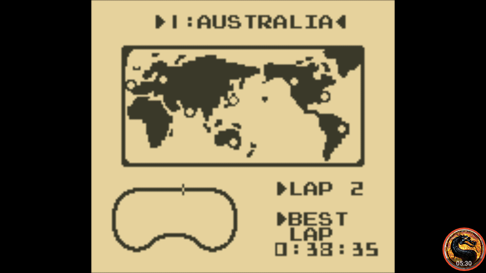 omargeddon: F-1 Race: Time Trials: Single: Australia [Best Lap] (Game Boy Emulated) 0:00:38.35 points on 2019-11-17 18:35:05