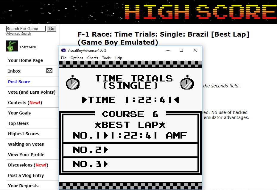 FosterAMF: F-1 Race: Time Trials: Single: Brazil [Best Lap] (Game Boy Emulated) 0:01:22.41 points on 2017-11-05 16:27:42
