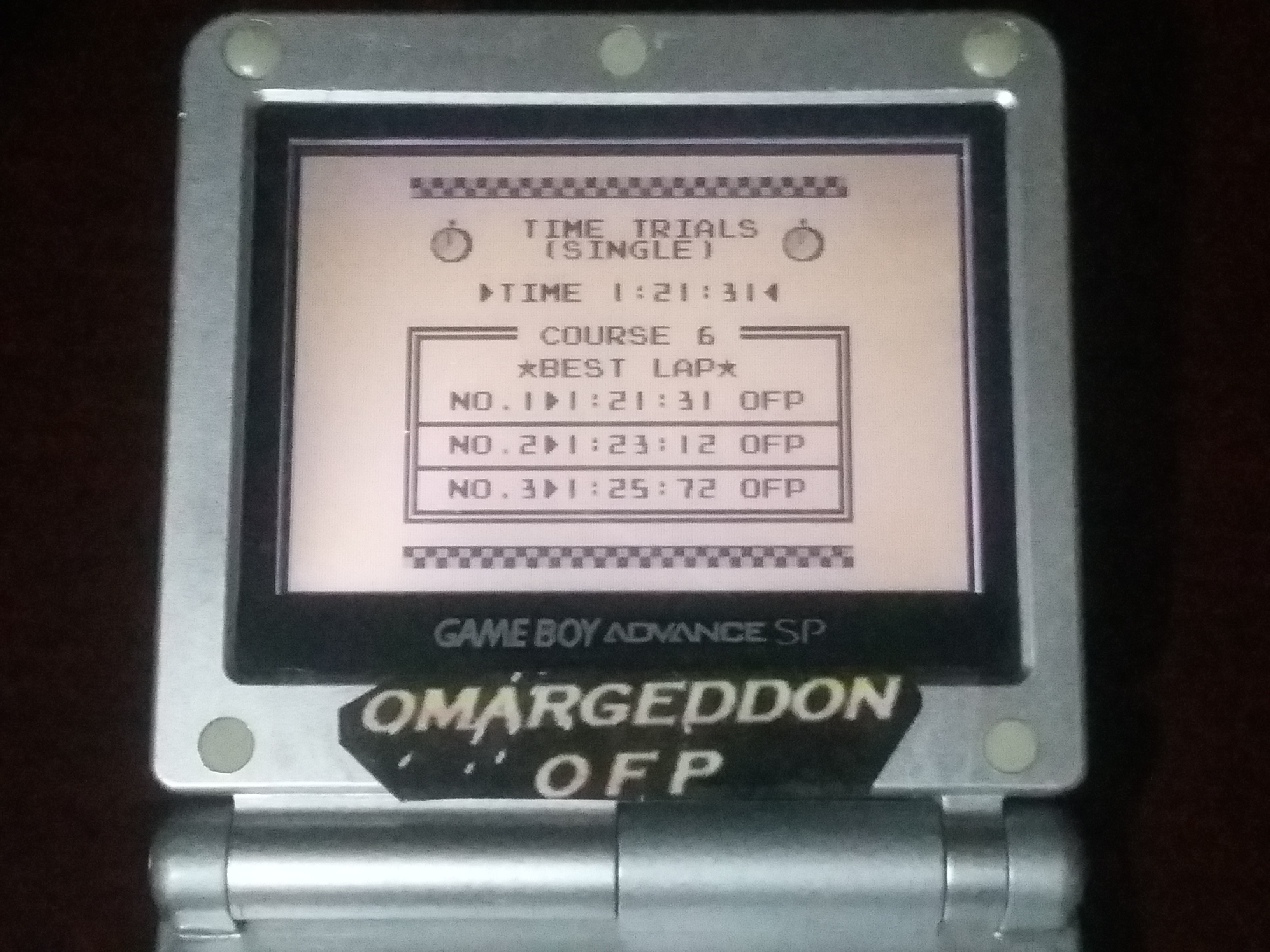 omargeddon: F-1 Race: Time Trials: Single: Brazil [Best Lap] (Game Boy) 0:01:21.31 points on 2018-01-07 03:20:15