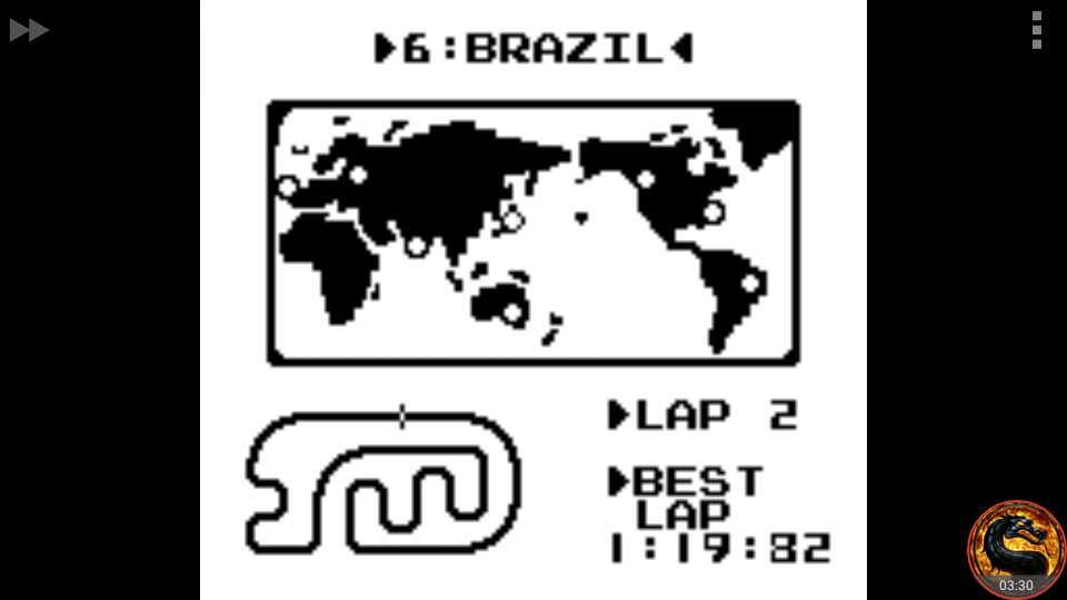 omargeddon: F-1 Race: Time Trials: Single: Brazil [Best Lap] (Game Boy Emulated) 0:01:19.82 points on 2018-10-25 03:59:56