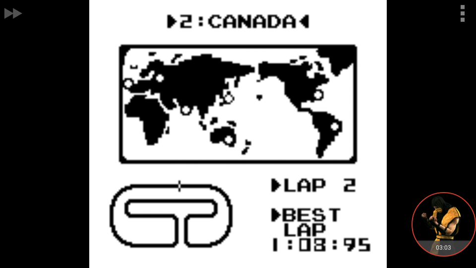 omargeddon: F-1 Race: Time Trials: Single: Canada [Best Lap] (Game Boy Emulated) 0:01:08.95 points on 2018-01-05 17:29:34
