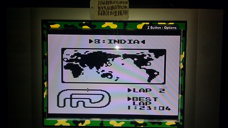 ichigokurosaki1991: F-1 Race: Time Trials: Single: India [Best Lap] (Game Boy) 0:01:23.04 points on 2016-06-21 23:21:08