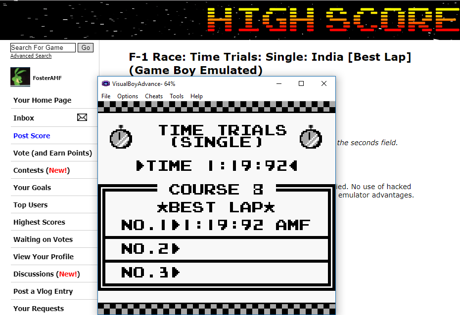 FosterAMF: F-1 Race: Time Trials: Single: India [Best Lap] (Game Boy Emulated) 0:01:19.92 points on 2017-11-05 17:10:33