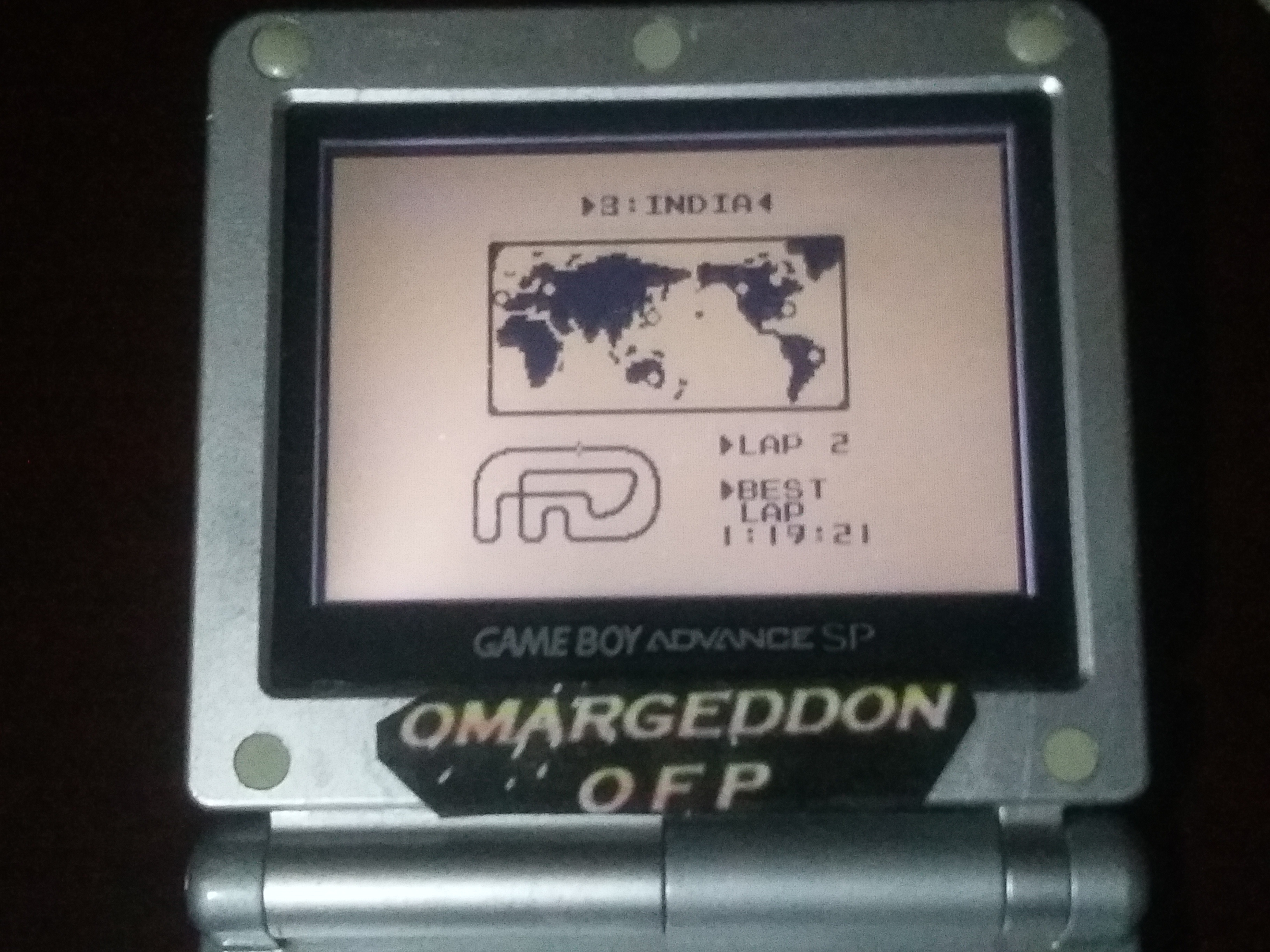 omargeddon: F-1 Race: Time Trials: Single: India [Best Lap] (Game Boy) 0:01:19.21 points on 2018-01-04 01:37:02