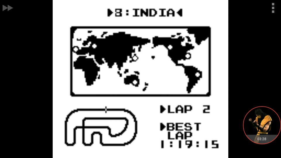 omargeddon: F-1 Race: Time Trials: Single: India [Best Lap] (Game Boy Emulated) 0:01:19.15 points on 2018-01-06 18:18:06