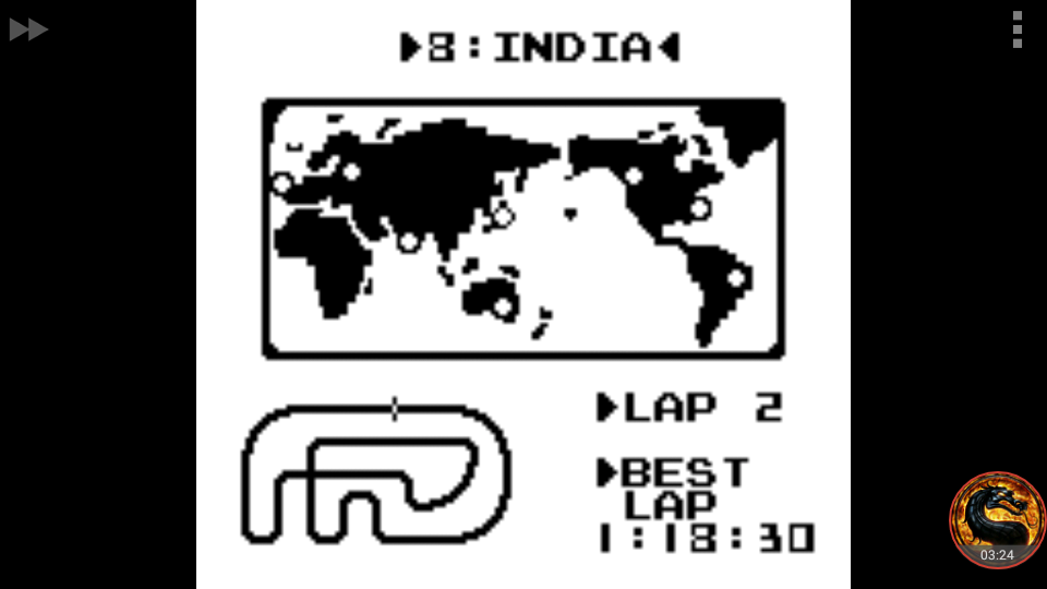 omargeddon: F-1 Race: Time Trials: Single: India [Best Lap] (Game Boy Emulated) 0:01:18.3 points on 2018-09-26 15:58:09