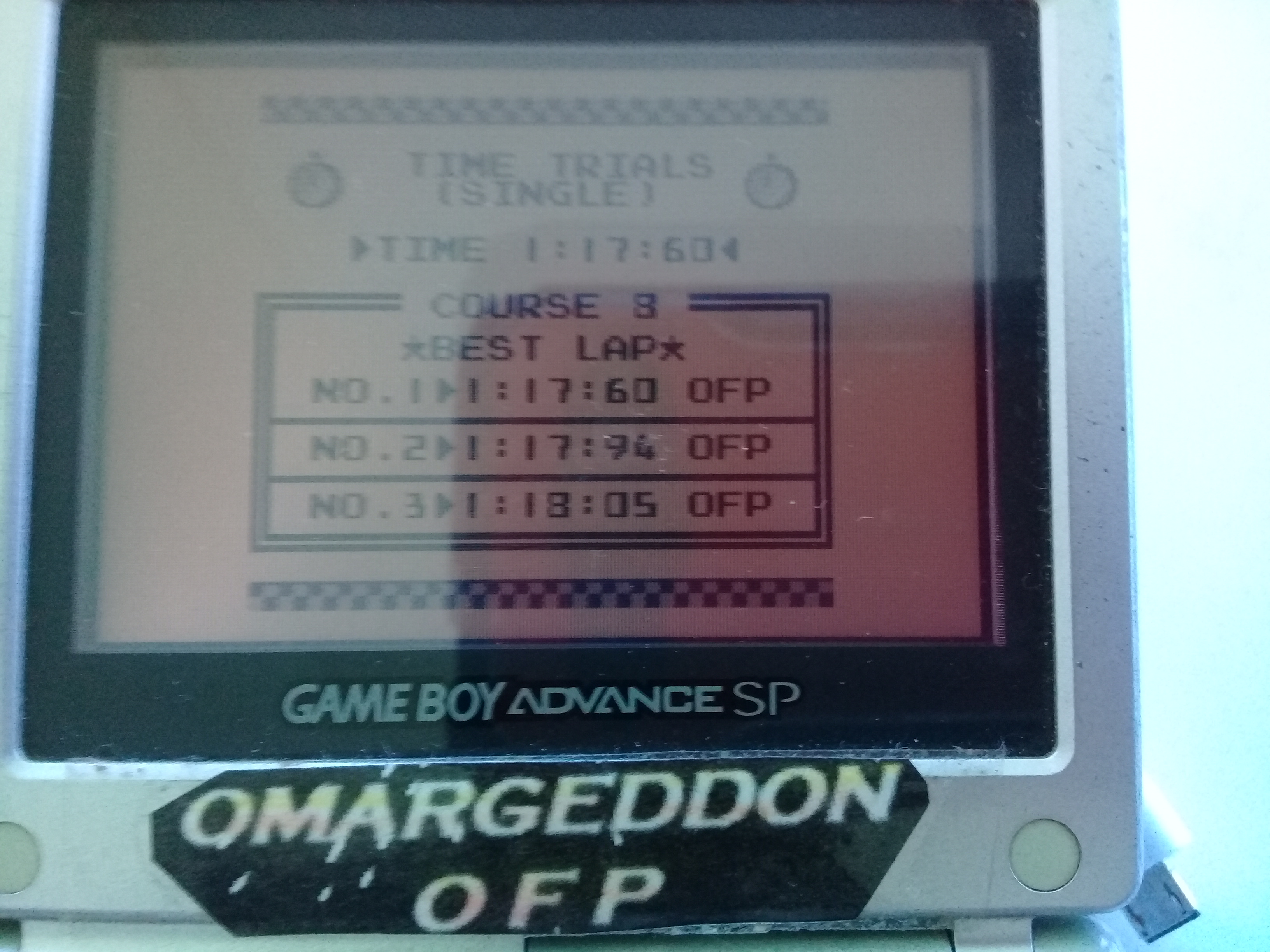 omargeddon: F-1 Race: Time Trials: Single: India [Best Lap] (Game Boy) 0:01:17.6 points on 2019-04-20 16:10:32