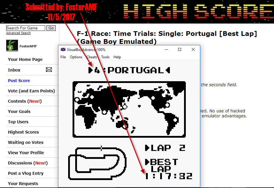 FosterAMF: F-1 Race: Time Trials: Single: Portugal [Best Lap] (Game Boy Emulated) 0:01:17.82 points on 2017-11-05 16:14:45