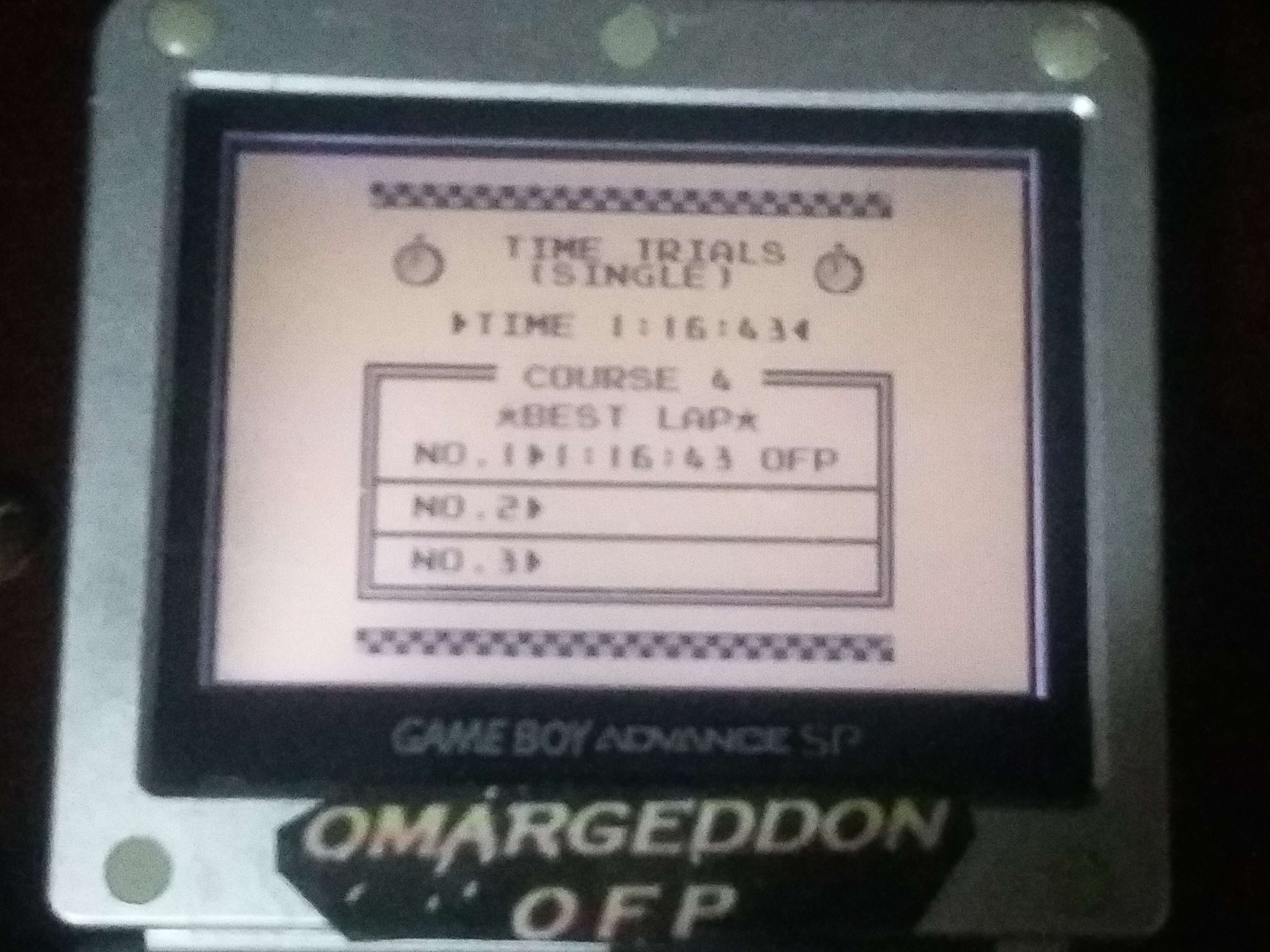omargeddon: F-1 Race: Time Trials: Single: Portugal [Best Lap] (Game Boy) 0:01:16.43 points on 2018-01-04 00:50:51