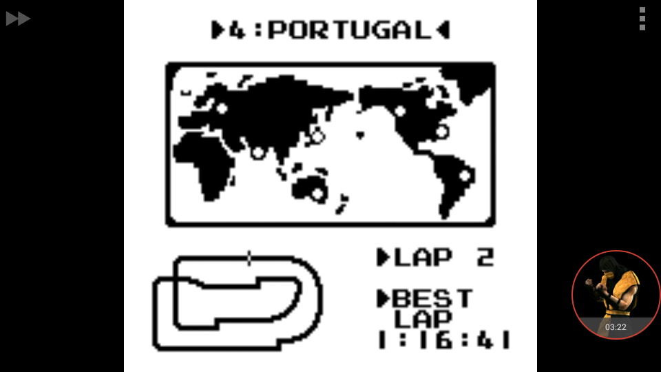 omargeddon: F-1 Race: Time Trials: Single: Portugal [Best Lap] (Game Boy Emulated) 0:01:16.41 points on 2018-01-06 17:43:16
