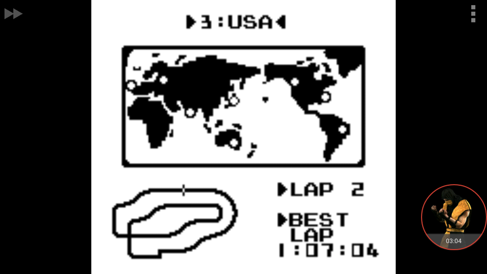 omargeddon: F-1 Race: Time Trials: Single: U.S.A. [Best Lap] (Game Boy Emulated) 0:01:07.04 points on 2018-01-06 17:51:05