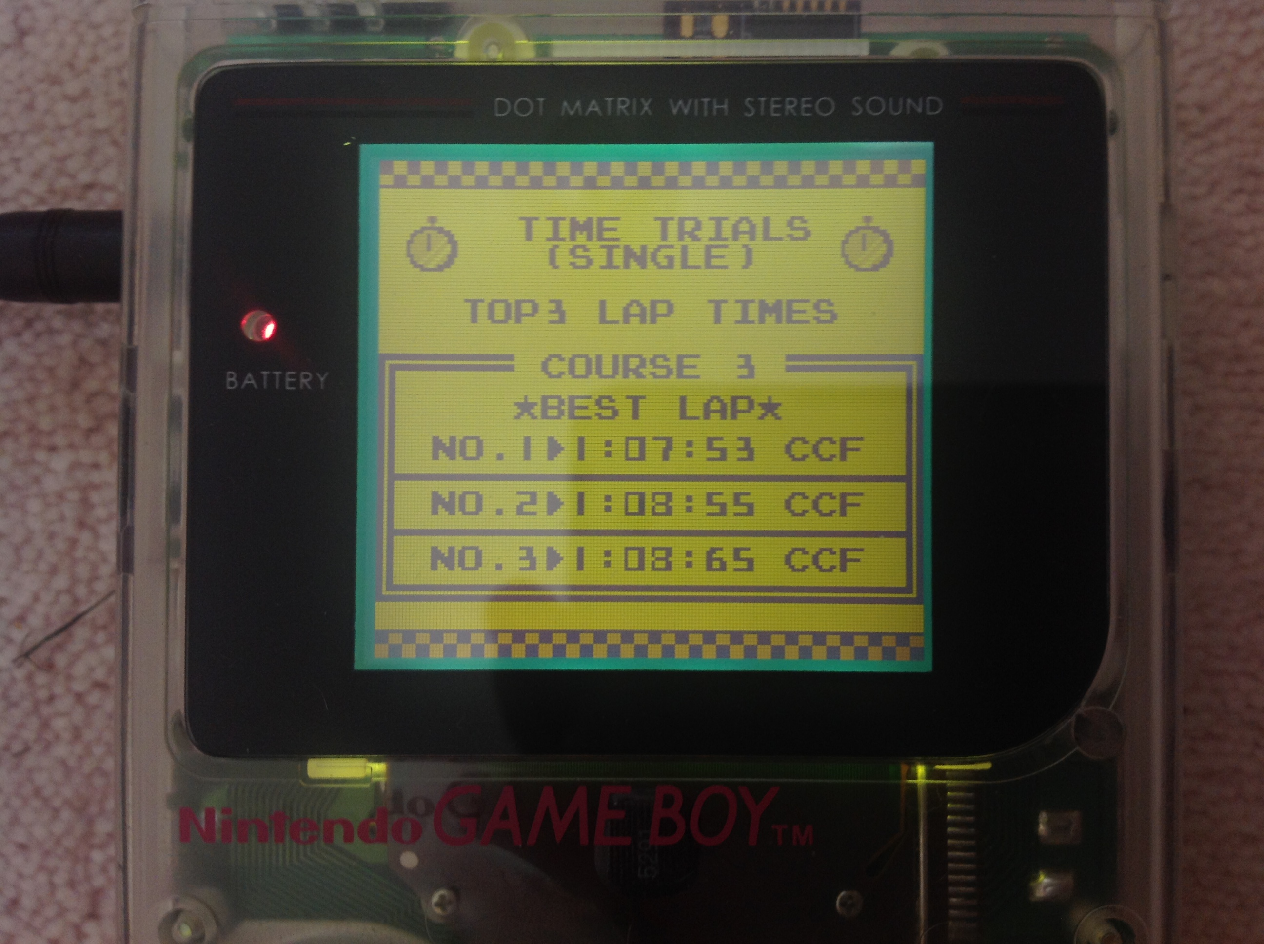 CoCoForest: F-1 Race: Time Trials: Single: U.S.A. [Best Lap] (Game Boy) 0:01:07.53 points on 2018-10-22 10:39:34