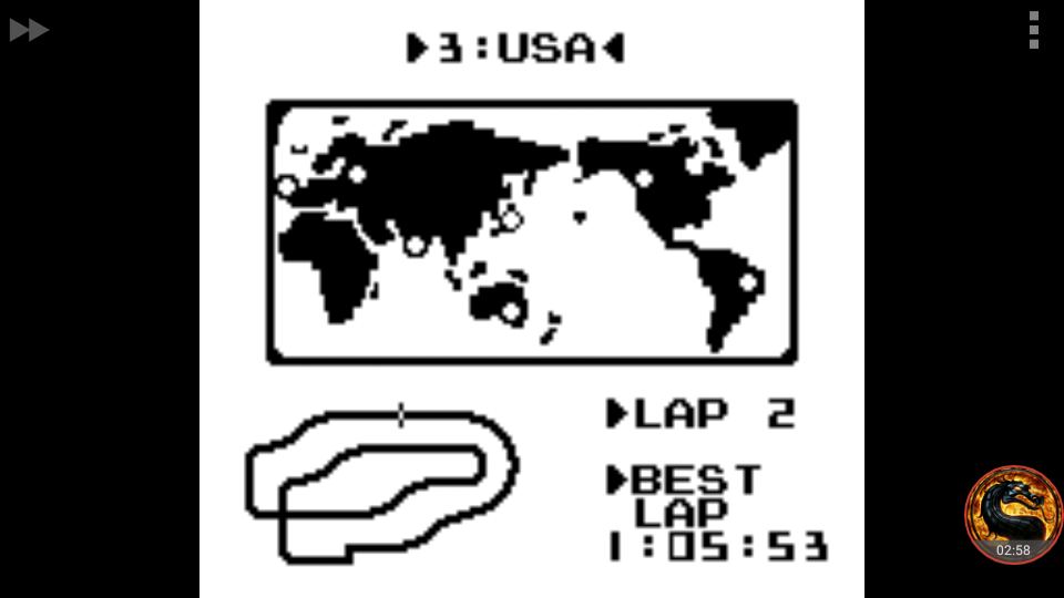 omargeddon: F-1 Race: Time Trials: Single: U.S.A. [Best Lap] (Game Boy Emulated) 0:01:05.53 points on 2018-10-22 12:34:35