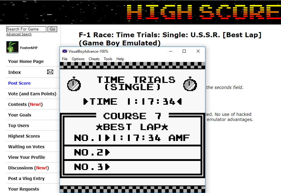 FosterAMF: F-1 Race: Time Trials: Single: U.S.S.R. [Best Lap] (Game Boy Emulated) 0:01:17.34 points on 2017-11-05 17:05:19