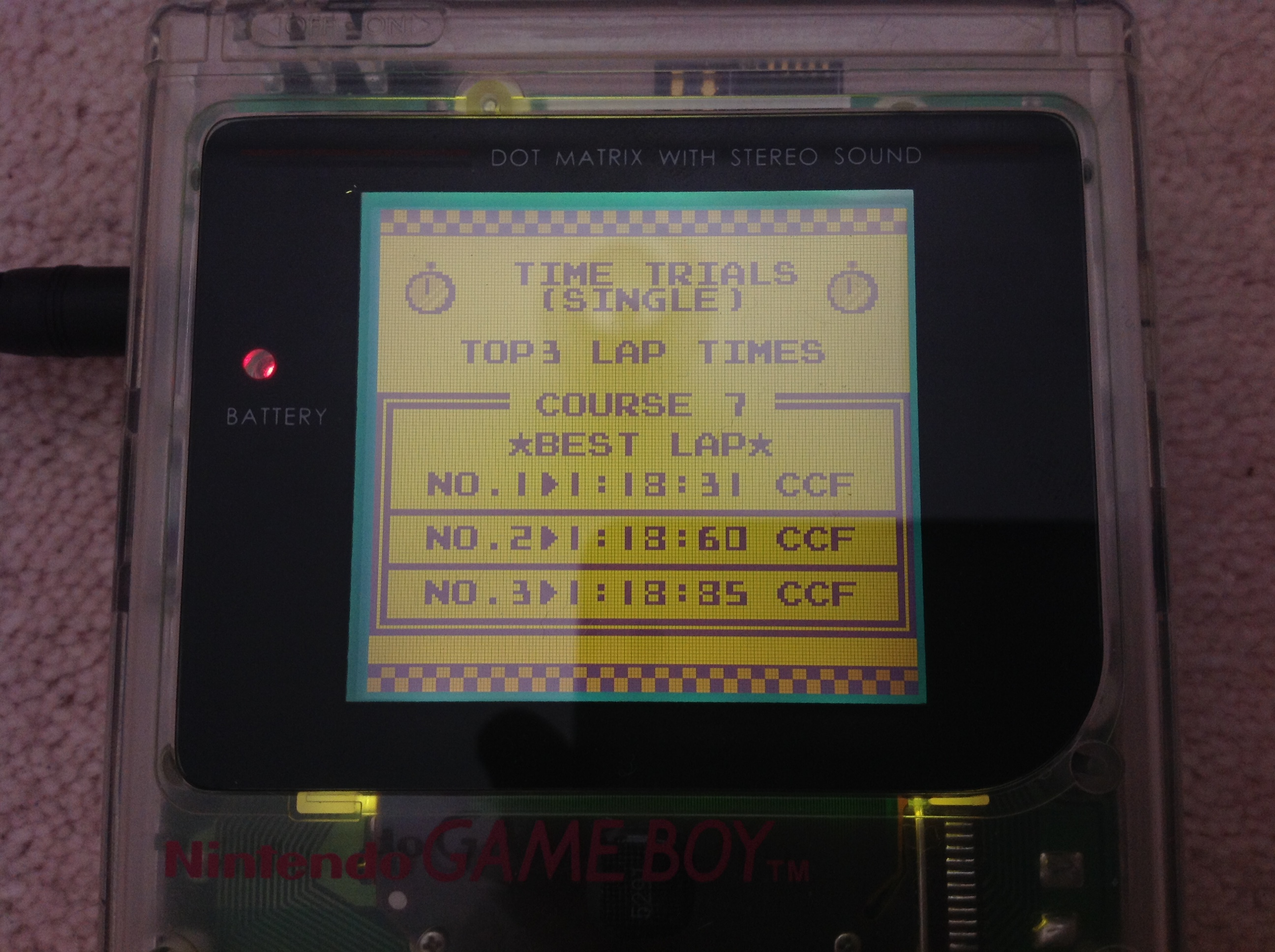 CoCoForest: F-1 Race: Time Trials: Single: U.S.S.R. [Best Lap] (Game Boy) 0:01:18.31 points on 2018-10-24 06:51:26