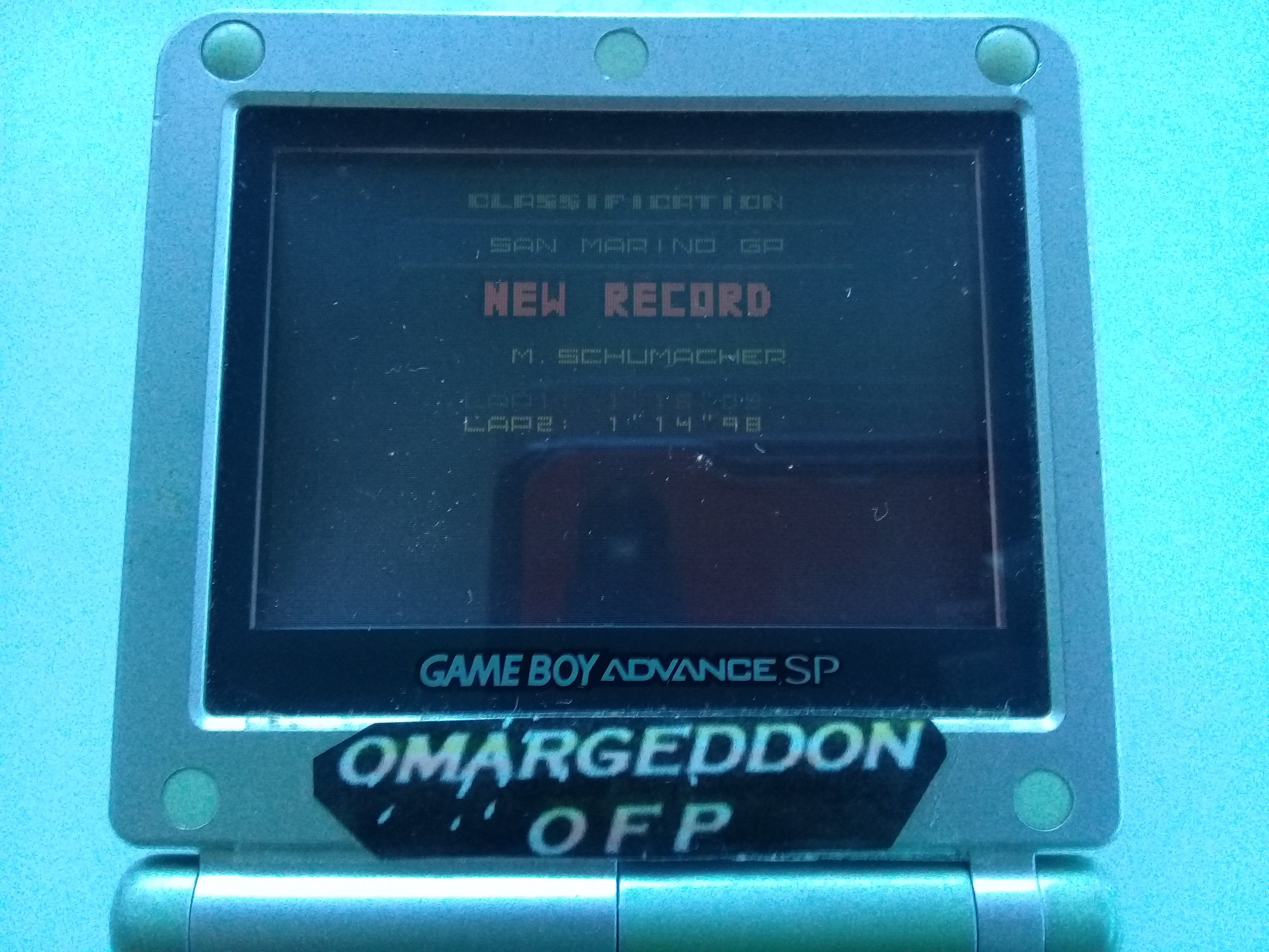 omargeddon: F-1 World Grand Prix II: Time Trials: Rookie: Track 03 San Marino GP [Best Lap] (Game Boy Color) 0:01:14.98 points on 2018-12-01 16:48:25