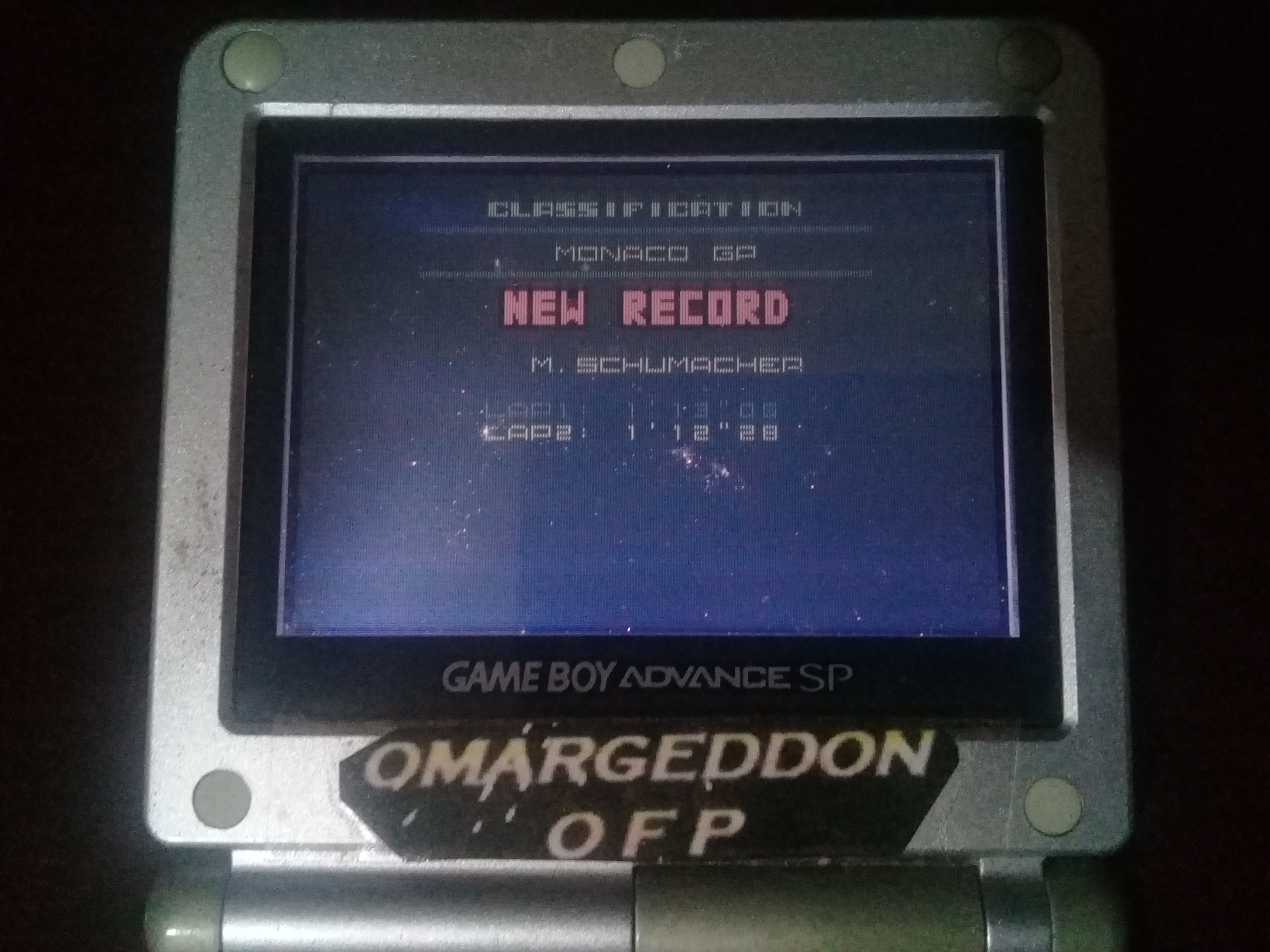 omargeddon: F-1 World Grand Prix II: Time Trials: Rookie: Track 04 Monaco GP [Best Lap] (Game Boy Color) 0:01:12.28 points on 2020-07-12 12:53:35