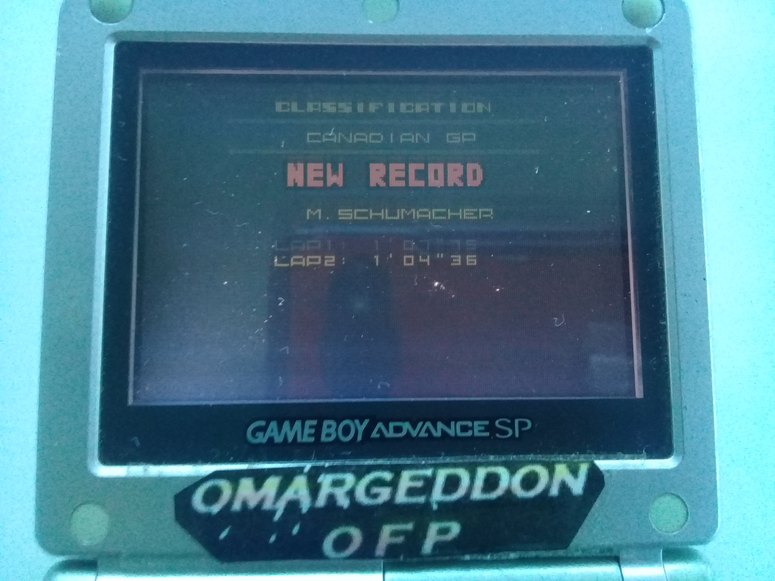 omargeddon: F-1 World Grand Prix II: Time Trials: Rookie: Track 06 Canadian GP [Best Lap] (Game Boy Color) 0:01:04.36 points on 2018-12-01 17:23:46