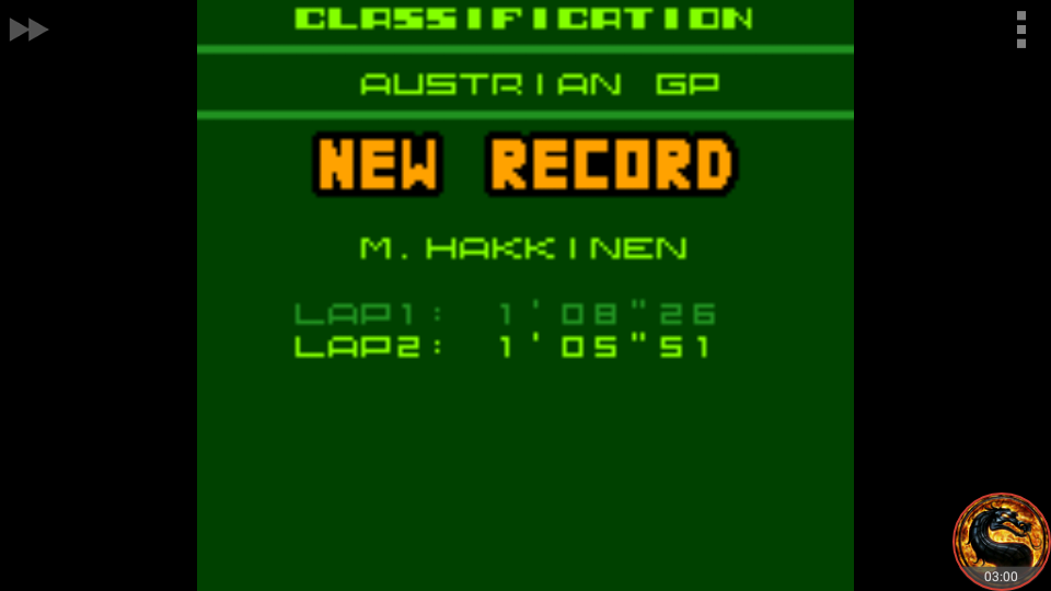 omargeddon: F-1 World Grand Prix II: Time Trials: Rookie: Track 09 Austrian GP [Best Lap] (Game Boy Color Emulated) 0:01:05.51 points on 2018-08-24 12:45:26