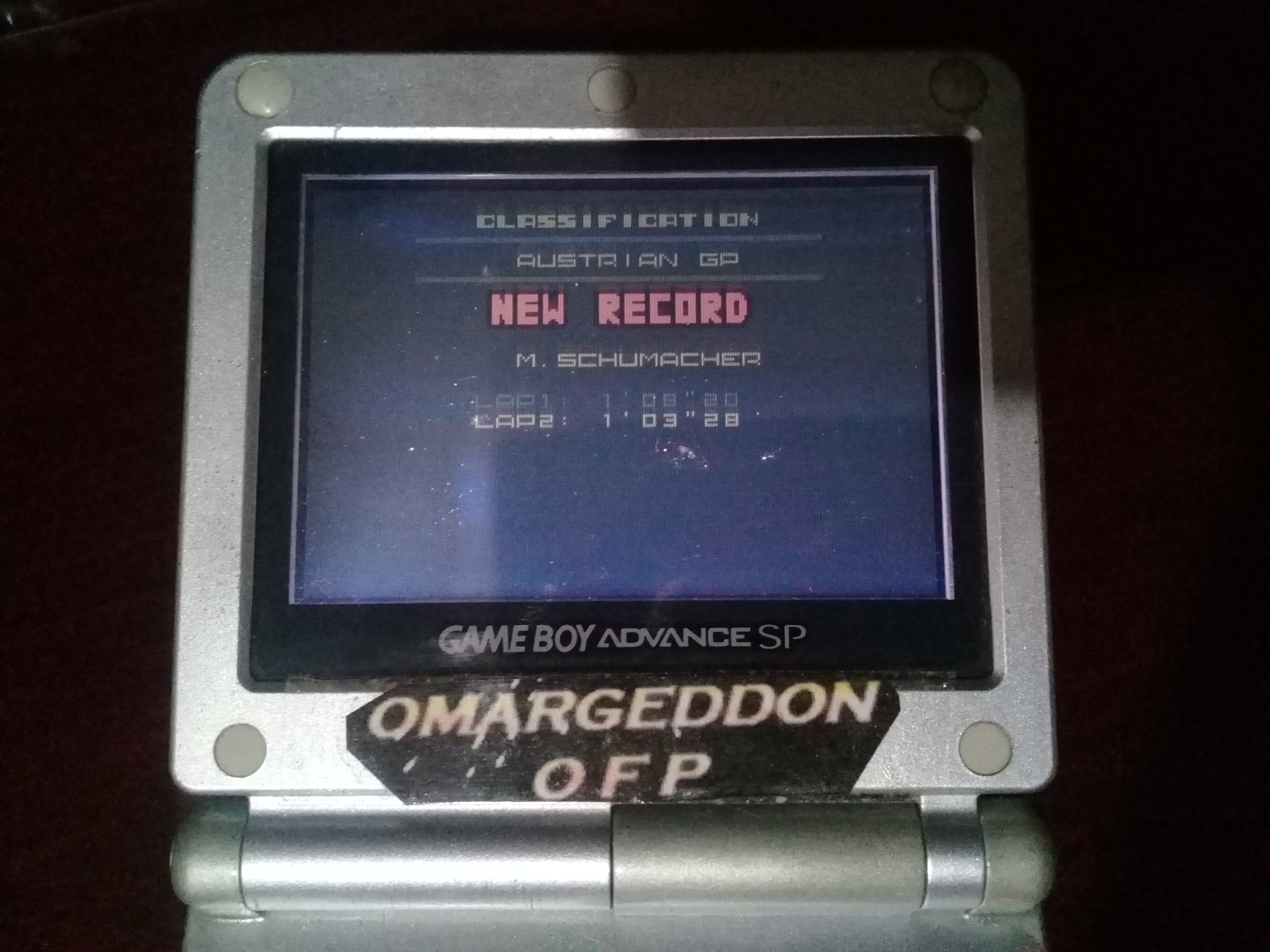omargeddon: F-1 World Grand Prix II: Time Trials: Rookie: Track 09 Austrian GP [Best Lap] (Game Boy Color) 0:01:03.28 points on 2019-02-08 01:32:57