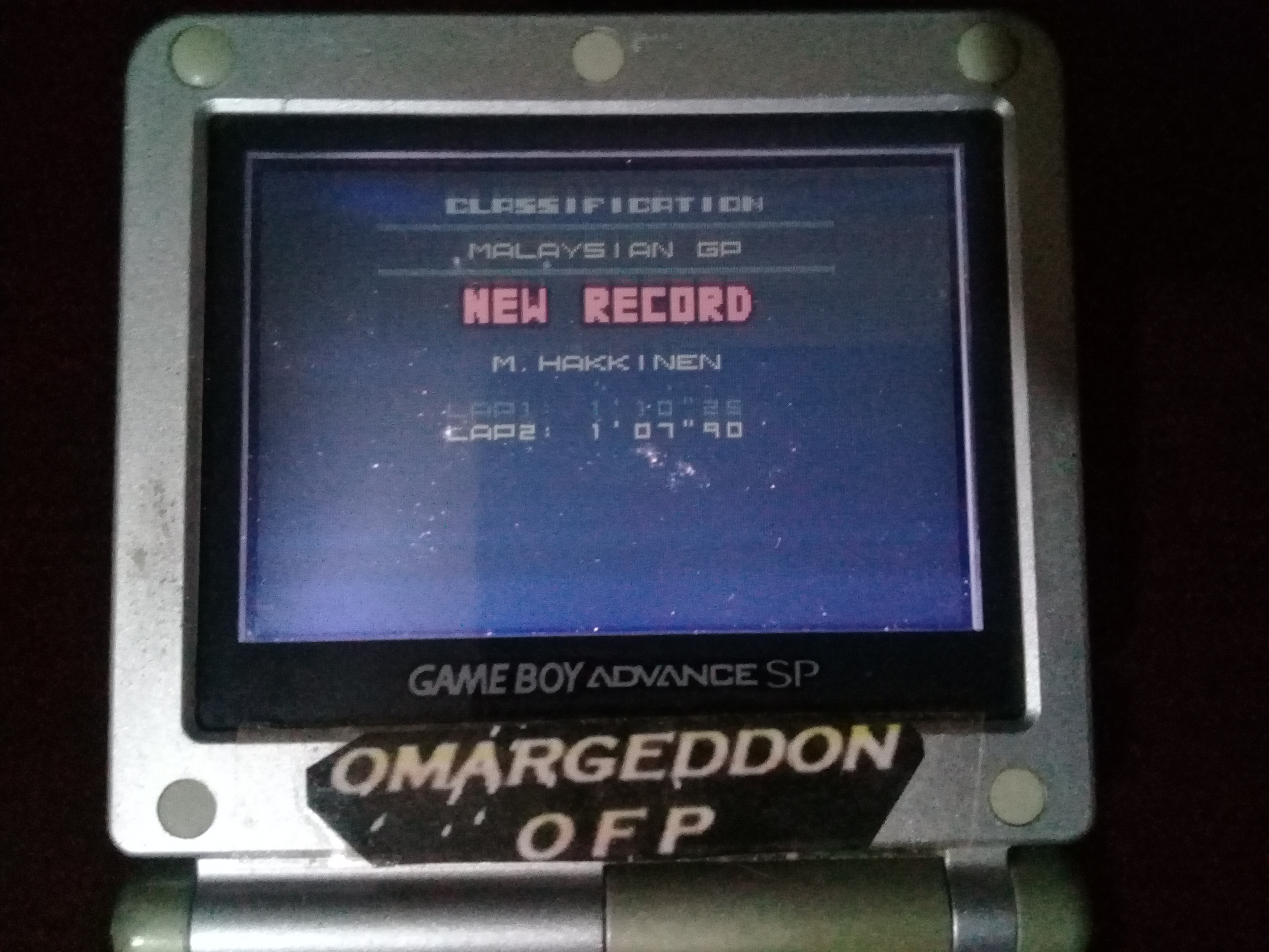 omargeddon: F-1 World Grand Prix II: Time Trials: Rookie: Track 15 Malaysian GP [Best Lap] (Game Boy Color) 0:01:07.9 points on 2020-07-19 11:01:58