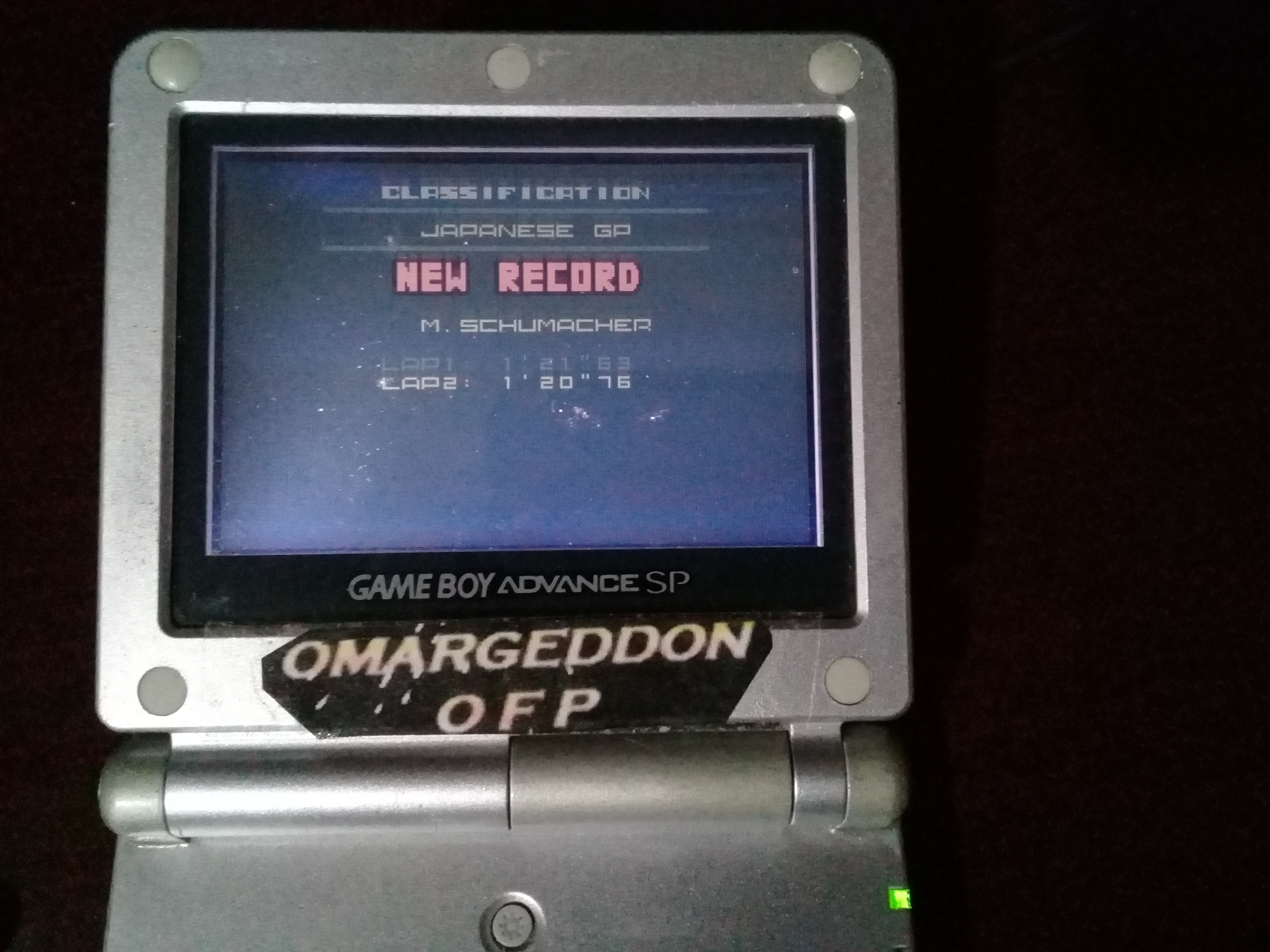 omargeddon: F-1 World Grand Prix II: Time Trials: Rookie: Track 16 Japanese GP [Best Lap] (Game Boy Color) 0:01:20.76 points on 2019-03-01 09:23:51