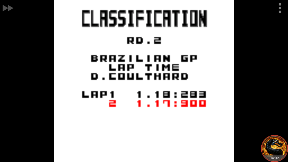 omargeddon: F-1 World Grand Prix: Time Trials: Rookie: Track 02 Brazilian GP [Best Lap] (Game Boy Color Emulated) 0:01:17.9 points on 2018-08-30 00:12:26