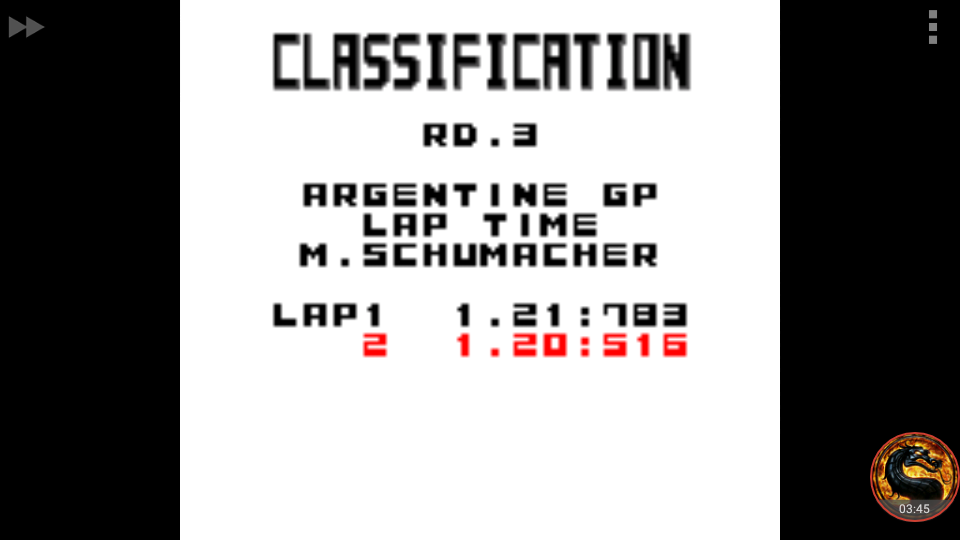 omargeddon: F-1 World Grand Prix: Time Trials: Rookie: Track 03 Argentine GP [Best Lap] (Game Boy Color Emulated) 0:01:20.516 points on 2018-09-08 22:32:32
