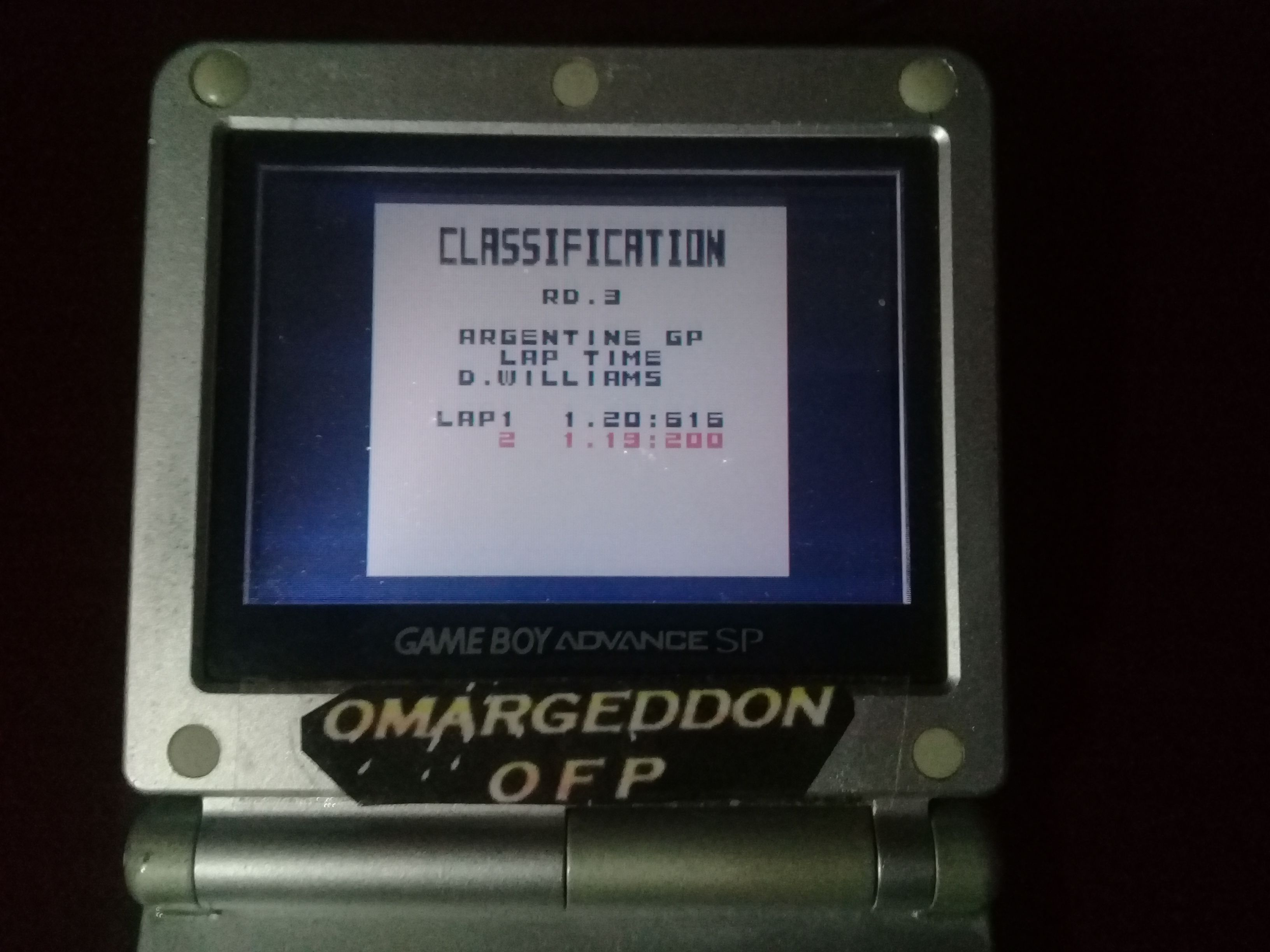 omargeddon: F-1 World Grand Prix: Time Trials: Rookie: Track 03 Argentine GP [Best Lap] (Game Boy Color) 0:01:19.2 points on 2019-04-03 22:49:35