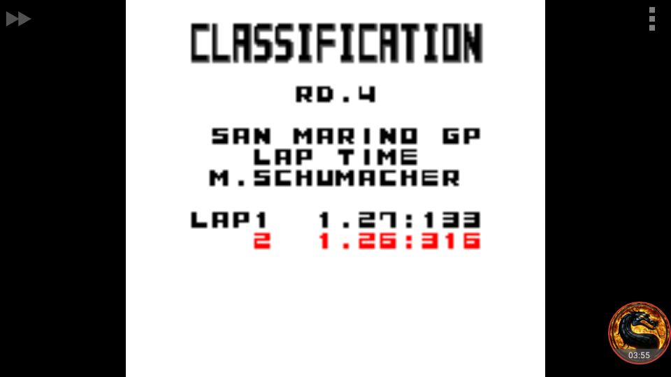 omargeddon: F-1 World Grand Prix: Time Trials: Rookie: Track 04 San Marino GP [Best Lap] (Game Boy Color Emulated) 0:01:26.316 points on 2018-09-08 22:34:29