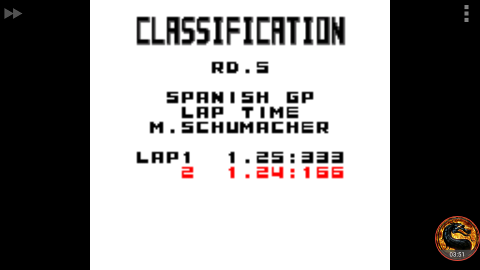 omargeddon: F-1 World Grand Prix: Time Trials: Rookie: Track 05 Spanish GP [Best Lap] (Game Boy Color Emulated) 0:01:24.166 points on 2018-09-10 23:45:14
